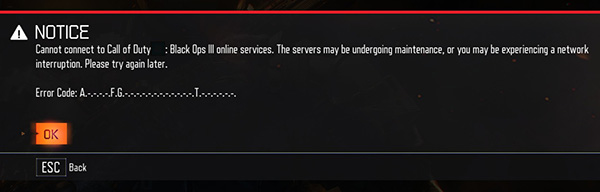 ABCD Call of Duty Black Ops 3 Error