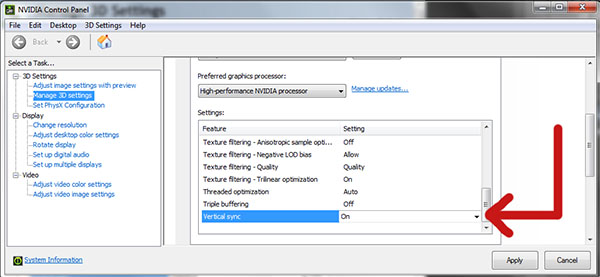 Enabling Vsync on Windows 7/8/10 from Nvidia control panel
