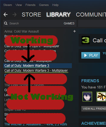 Steam game library list