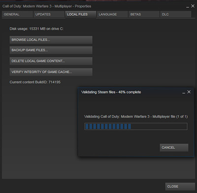 Verifying PC game's cache