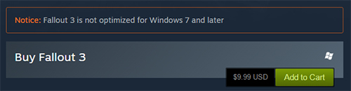 Notice: Fallout 3 is not optimized for Windows 7 and later