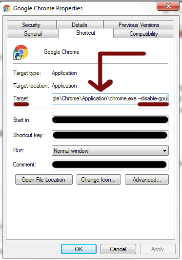 Disabling GPU in Google Chrome