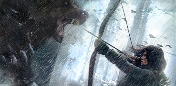Lora Croft Fighting Bear in Rise of the Tomb Raider
